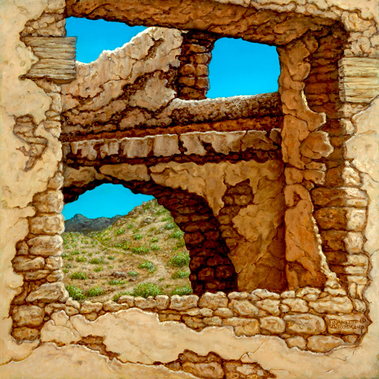 Adobe Near Taos II, a landscape painting by world famous artist Janet Kruskamp. A view through a crumbling adobe shows a dirt trail winding up the craggy hill, a small mountain in the background. The azure sky shows through at the top of the adobe brick building, with overlying plaster falling into decay exposing the old adobe block. One of the Interiors and Exteriors Gallery by Janet Kruskamp.