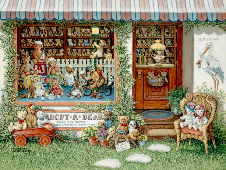 Adopt a Bear, a painting of a teddy bear shop full of teddies, including in front of the store in a basket, wagon and chair, one of the Janet Kruskamp Teddy Bear Gallery of  original paintings by Janet Kruskamp