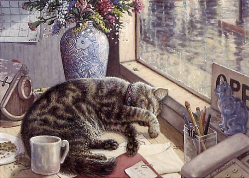 After Hours, a painting by Janet Kruskamp showing a tabby cat sleeping on a desk with rolodex, coffee mug, blue vase with colorful flowers and a telephone. A window shows the rainy world outside and a closed sign - Cat Paintings Gallery -   original paintings, by Janet Kruskamp.