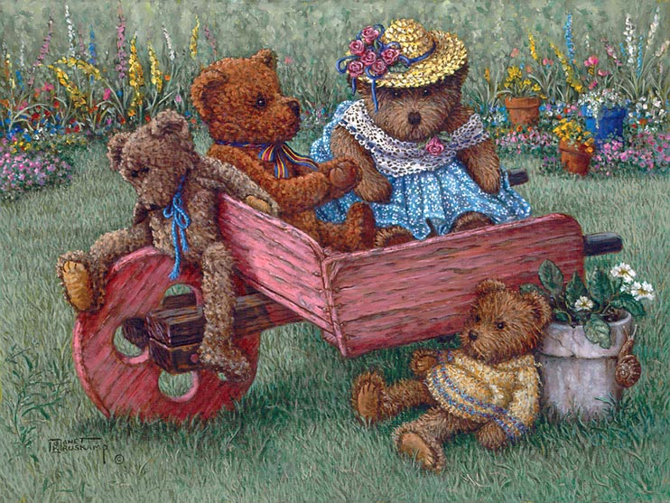 Amys Bears, a painting of teddy bears on and about a wooden wheelbarrow, one of the Janet Kruskamp Teddy Bear Gallery of  original paintings by Janet Kruskamp