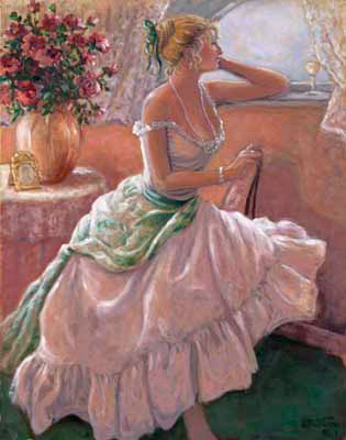 Anticipation, a beautiful original oil painting by painter Janet Kruskamp, available as an original painting in various sizes hand by the artist. A beautiful woman, with blonde hair carefully arranged up on her head, clothed in a gorgeous light colored gown with a large scarf tied around her waist. She sits sideways on a chair looking longingly out the window, her left elbow resting on the high window sill. An ornately framed photo sits next to a large vase of roses on a small round table behind her. A wine glass sits in front of the woman in the draped window sill. You can own an enhanced and hand-signed reproduction of this lovely painting of your very own.