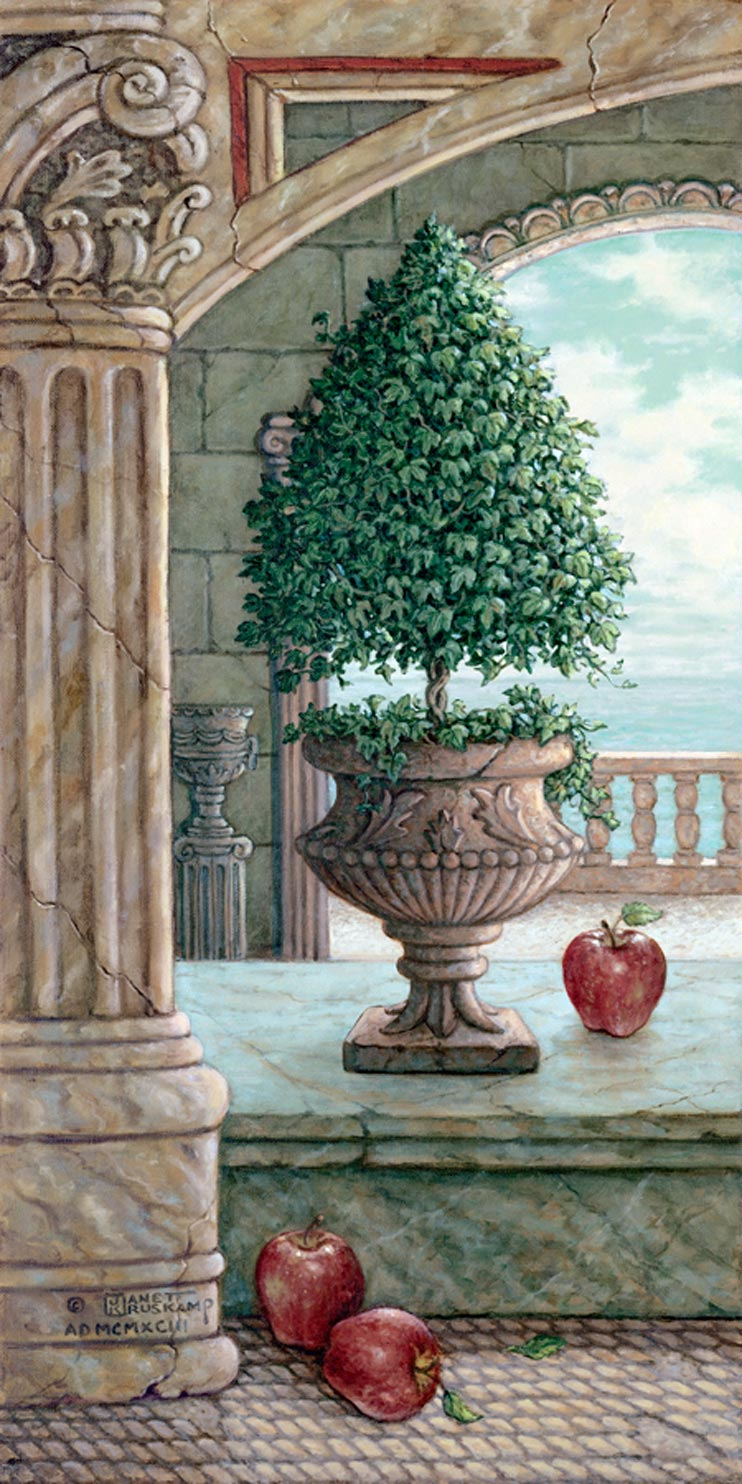 Apple and Topiary, a painting of apples fallen from a sculpted apple tree in marble arches and columns,one of Janet Kruskamp's original paintings,  by artist Janet Kruskamp
