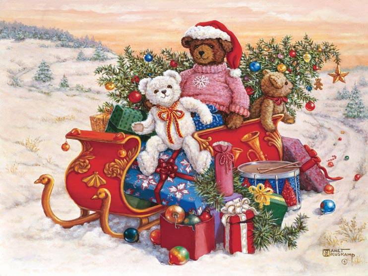 Sitting on a snowy road in a winter landscape, three adorable stuffed teddy bears bring a sleigh full of toys and christmas cheer. Overflowing with presents and a fully decorated christmas tree, the red sleigh sits in front of a beatifully colored sunset. A larger dark brown bear, wearing a red Santa hat and cute pink sweater decorated by a single snowflake on the chest, sits in the middle of the sleigh. A smaller white bear wearing a red and gold ribbon tied in a bow sits in front, turned and smiling to the viewer. A smaller brown bear hangs over the back of the sleigh. Tree ornaments are dropped along the road behind the sleigh, along with a solitary candy cane. One of the Janet Kruskamp Teddy Bear Gallery of original paintings hand by Janet Kruskamp.