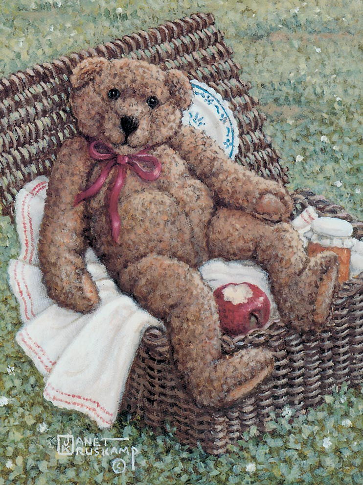 Teddy Bear Wear, a painting of teddy bears and various teddy apparel in stages from pattern cutting to assembly, one of the Janet Kruskamp Teddy Bear Gallery of  original paintings by Janet Kruskamp