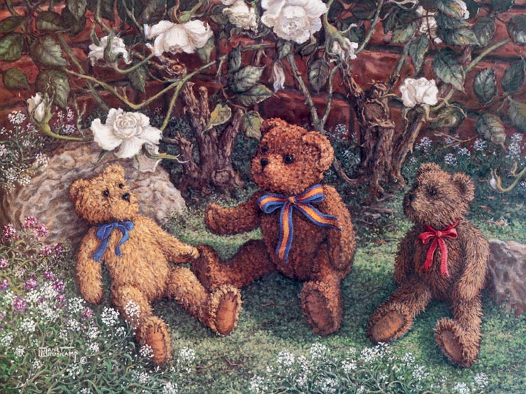 Bears and Roses, a painting of three teddy bears next to the white rose bush, one of the Janet Kruskamp Teddy Bear Gallery of  original paintings by Janet Kruskamp