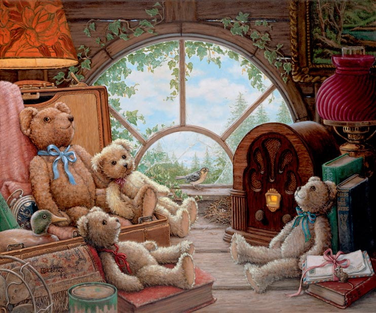 Bears in the Attic, a nostalgic peek into the attic with four teddy bears reclining in and around a chest and old fashioned radio, one of the Janet Kruskamp Teddy Bear Gallery of Original Oil Paintings and  original paintings by Janet Kruskamp