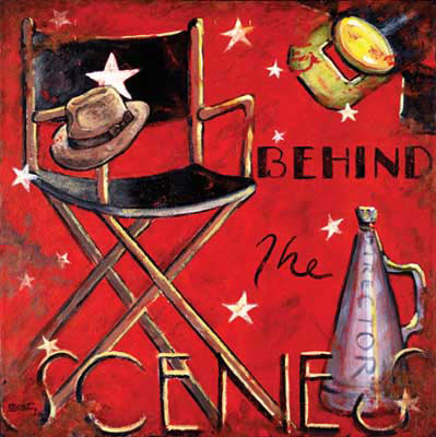 Behind the Scenes is another bold red poster in the vintage movie poster collection by artist Janet Kruskamp. Incorporating stylistic elements to represent the star of the movie (the high folding chair with the star on the back with the male star's fedora style had sitting on the front of the arm), the director (the old fashioned megaphone with Director written on the side) and the crew (studio light in the uppper right corner, lit with barn doors open), this weathered look poster is decorated by stars and the text BEHIND THE SCENES. This poster would be perfect for the wall of your home cinema.