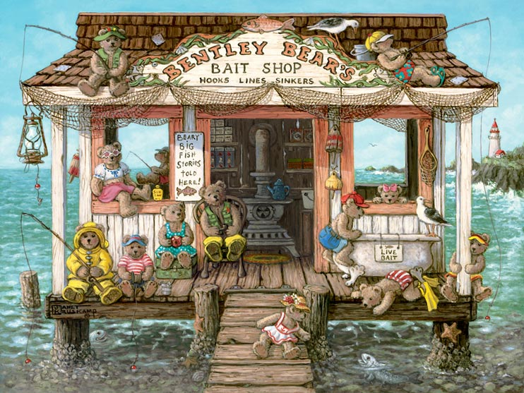 Bentley Bears Bait Shoppe, a nautical painting of a bait shop out on the water with a lighthouse in the distance, filled with teddy bears fishing and sitting. Signs proclaim Live Bait and Beary Big Fish Stories Told Here! Sea gulls sit on the roof and porch, fishing nets hang across the front under the sign. Some of the teddy bears are dressed in yellow rain slickers, others in everyday clothes. A small girl bear leans out from the walkway to view a fish with it's head out of water. One Janet Kruskamp's Teddy Bear Gallery of  original paintings by Janet Kruskamp