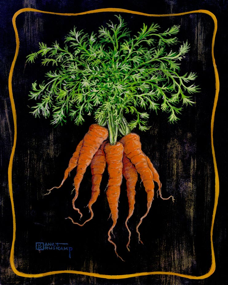 They always said that carrots were good for your eyes, now I know what they meant. Bright orange and the perfect shade of green make these carrots just right. The same background and border is used to ensure that this vegetable bouquet gets all the attention. This original painting as been hand by Janet Kruskamp.