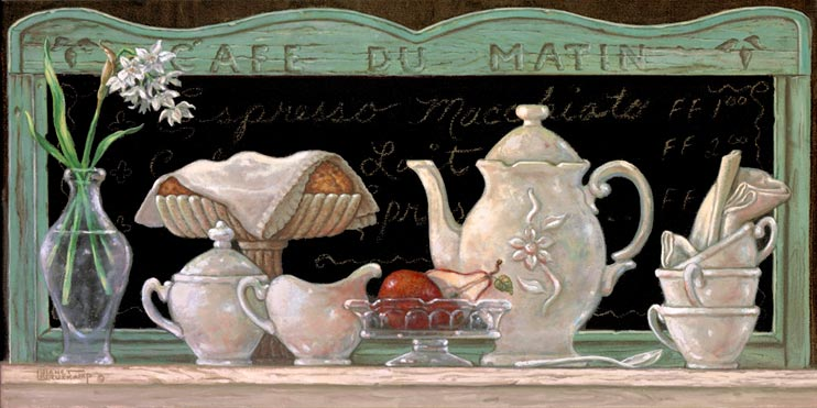 Café Du Matin, an oil painting of a beautiful, gently used antique porcelain coffee set. Naturally displayed in a casual restaurant setting including beautiful flowers and fresh pears, one of Janet Kruskamp's newer original paintings, and personally enhanced. Hand by Janet Kruskamp.