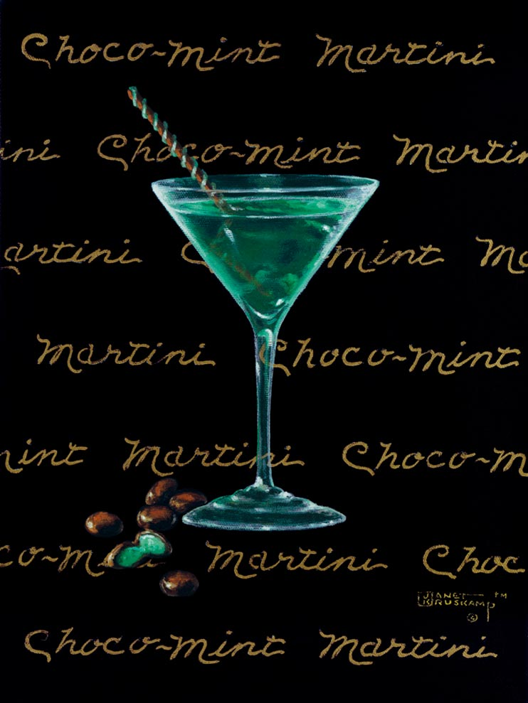 Choco-Mint Martini, a giclee for sale, personally enhanced and by the artist, Janet Kruskamp illustrating a classic martini glass with a green colored martini inside and chocolate pieces and mints at the base of the glass. The black background has the name Chocolate Martini handwritten in multiple lines across the background.