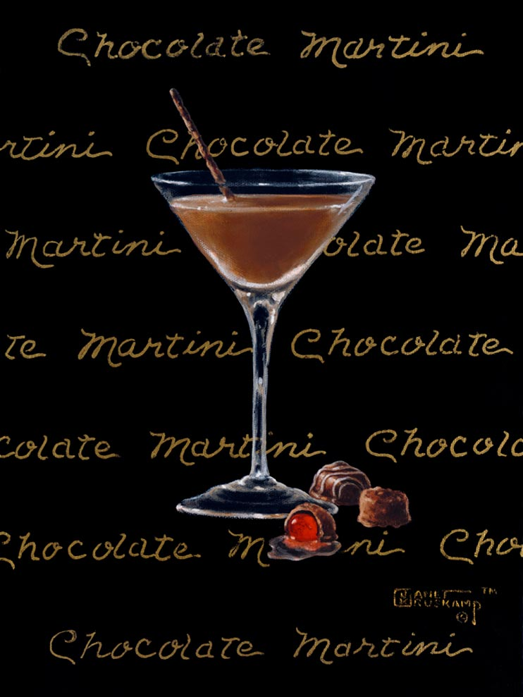 Chocolate Martini, a giclee for sale, personally enhanced and by the artist, Janet Kruskamp illustrating a classic martini glass with a chocolate colored martini inside. The black background has the name Chocolate Martini handwritten in multiple lines across the background.