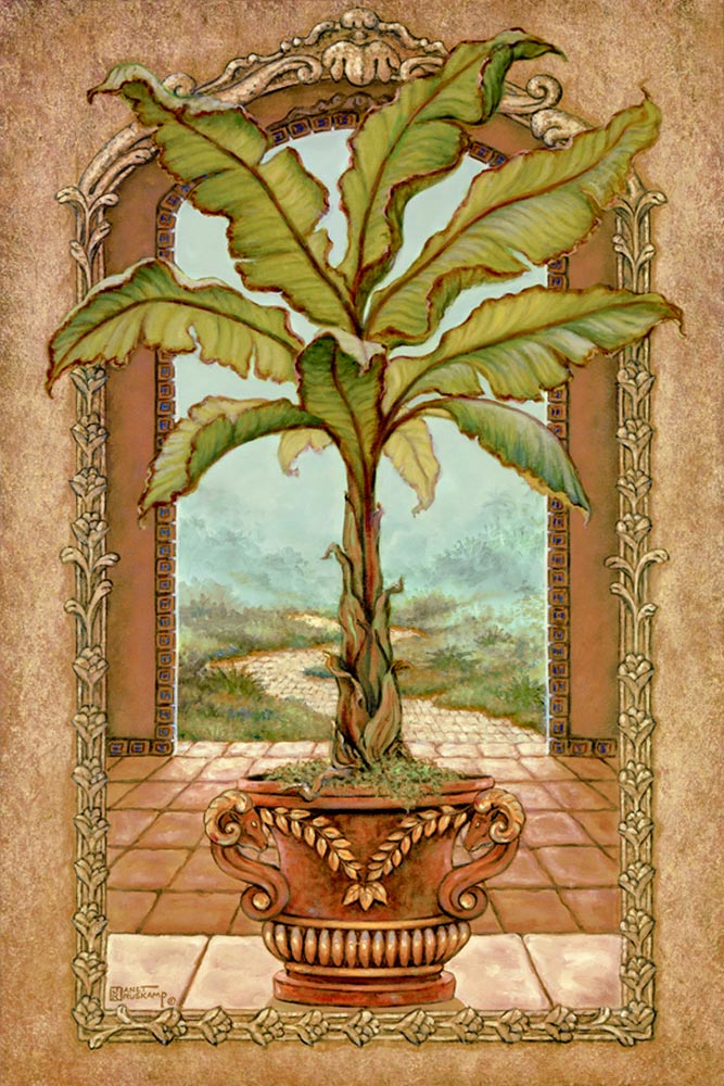 Classical Banana Tree, a painting of a potted banana tree inside an open arch and in front of another arch framing the path away from the palace, one of Janet Kruskamp's Original Oil Paintings, ,  by artist Janet Kruskamp width=