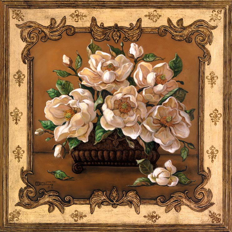Classical Magnolia, a lovely painting of an arrangement of magnolia blossoms in a square vase. The blossoms are so large the vase, which sits on a shelf or sideboard against a brown wall, is mostly obscured by the arrangement. An unopened flower sits on the shelf next to the vase. The wonderful border around this painting, with intricate scrollwork in the corners and a fleur de lis type pattern, gives the illusion of looking in through a beautiful window, framed by the border. This is a new giclee , personally enhanced and by artist Janet Kruskamp.