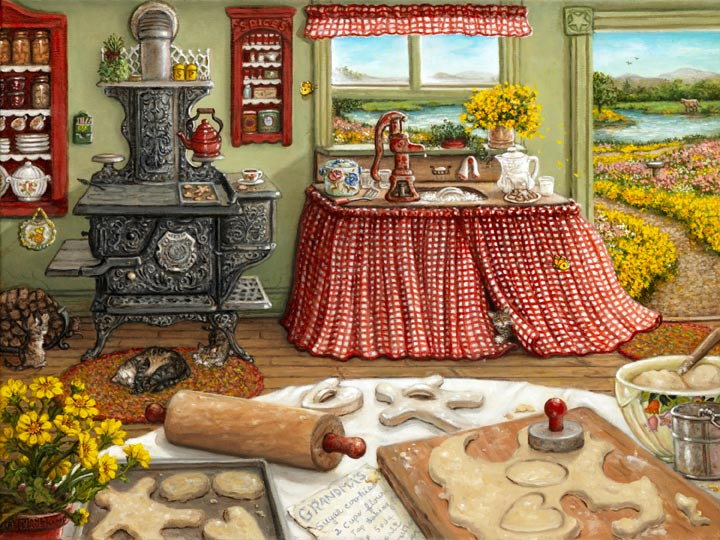 Cookie Baking Day by painter Janet Kruskamp recalls an earlier time, showing lovley antique stove, water pump, rolling pin and cookie cutters in a kitchen scene. Cut-out cookies sit on a tray ready to go in the oven and more cookie dough is being cut into cookies. A tabby cat naps curled up in front of the wonderful old wood stove and an open door beckons you down the golden flower lined path towards a shimmering pond. Another wonderful original painting from Janet Kruskamp's Interior and Exterior Scenes Paintings Gallery of original oil paintngs by Janet Kruskamp.