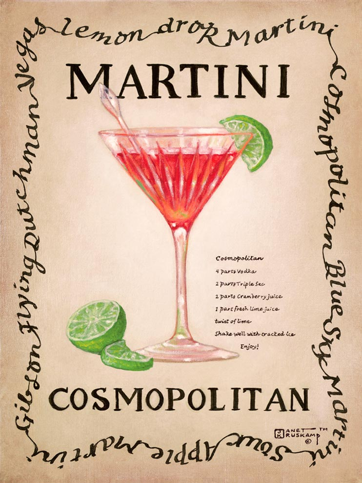 Cosmopolitan, an original painting,  personally by artist Janet Kruskamp showing a clear single stem martini glass with a green olive, stirrer and lemon twist. The recipe for a dry martini is next to the glass.