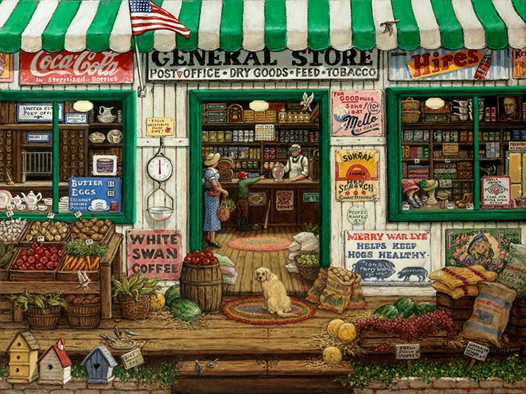 a women stands inside the double doors of the local general store while a small boy points at the candy jar the storekeeper is presenting. A Cocker Spaniel sitting on the braided rug in front of the door turns his had back to look at you. The porch is filled with vegetables and melons, along with seed and feed. Signs cover the outside of the building and the shelves inside are filled with dry goods. A post office is visible through the left window, while hats are displayed in the window on the right.
