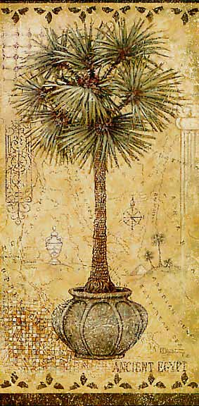 Global Palm 2, a painting of a potted palm tree on a hand painted map, one of Janet Kruskamp's Original Gouache and Rice Paper, by artist Janet Kruskamp