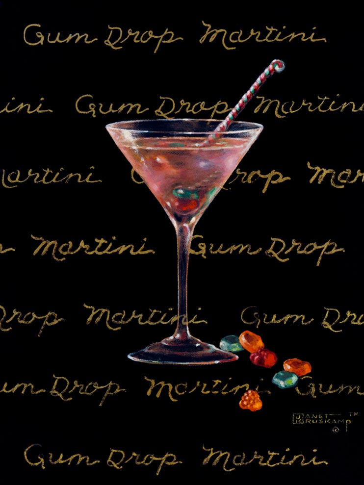 Gum Drop Martini, a giclee for sale, personally enhanced and by the artist, Janet Kruskamp illustrating a classic martini glass with a multi-colored martini inside and gum drops scattered at the base of the glass. The black background has the name Gum Drop Martini handwritten in multiple lines across the background.
