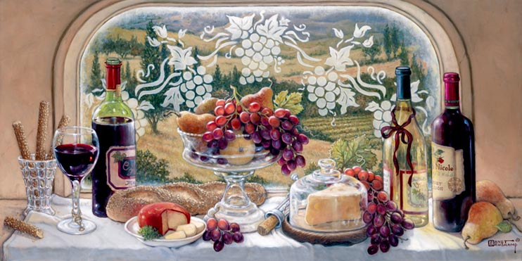 Tuscan Picnic, a new painting by artist Janet Kruskamp. One of the Still Lifes Gallery of Original Oil Paintings and original paintings by Janet Kruskamp