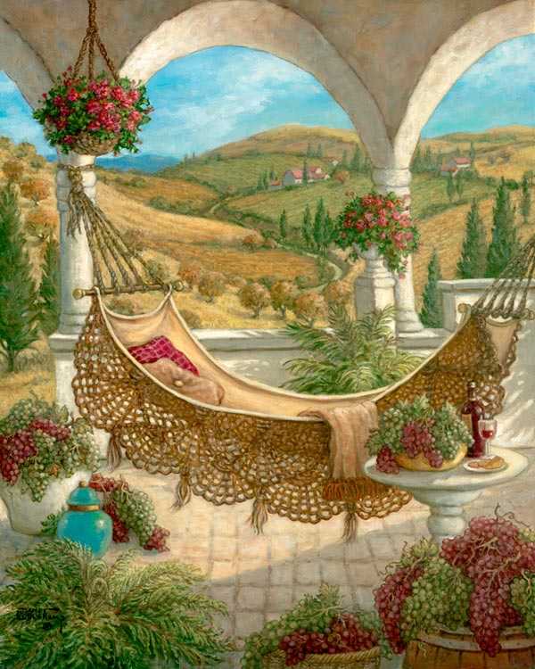 Harvest Celebration 2, an idylic scene featuring a hammock slung between two pillars of an arched dome decorated by hanging flower baskets. Rolling dry hillsides punctuated by green fields form the background through the pillars. Trees, in fall colors and evergreens, dot the landscape along the winding road to the horizon. The fruits of the harvest surround the hammock and table, framed by green plants and a bright aquamarine jar. An original oil on canvas available directly from the artist, Janet Kruskamp.