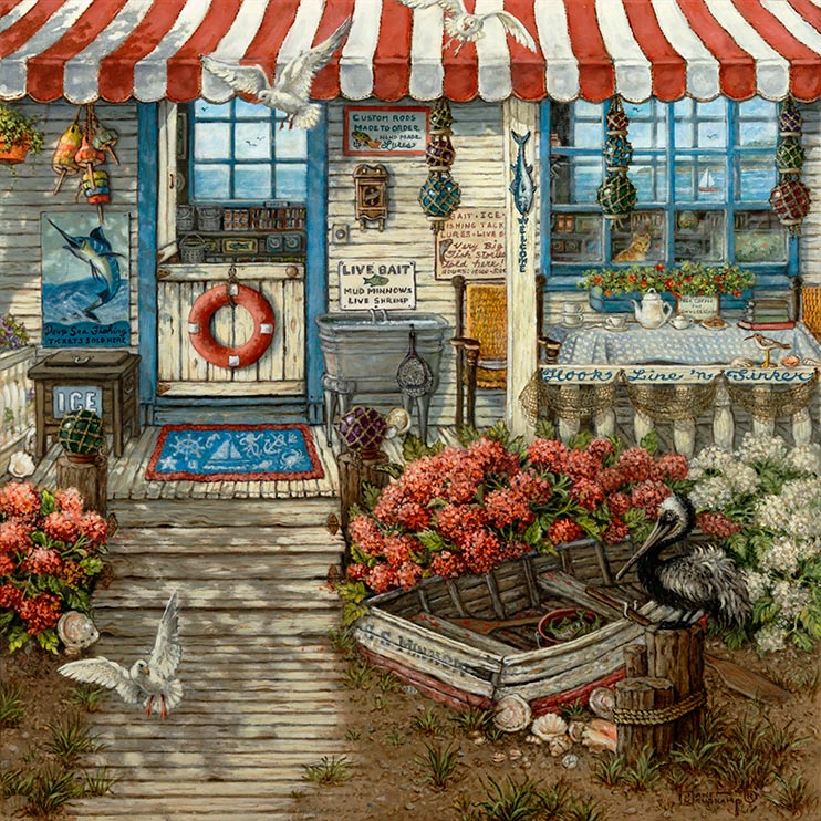 An oil painting of a cozy little bait shop, weathered and worn around the edges, topped with a red and white striped awning. A retired rowboat sits to the side of the wood plank walkway that leads up to the porch. Ice and live bait flank the split open front door. To the side of the porch, a table set with a china tea set awaits. Brightly colored glass floats are hung in nets from the porch roof. Flying gulls and a sleepy pelican are attracted by the live bait. Bright flowers fill the front yard of the shop. Signs offering bait, ice, fishing tackle, lures, custom rods and live bait are posted on the outside of the shop.
