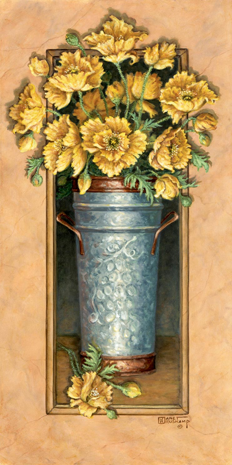 Janet Kruskamp's Paintings - Icelandic Poppies 2, a painting of yellow poppies in a hammered metal vase. The vase is framed by a narrow, rectangular cutout with the poppies spilling out in front of the frame at the top. One of the Gardens and Florals Gallery of Original Oil Paintings and  original paintings by Janet Kruskamp