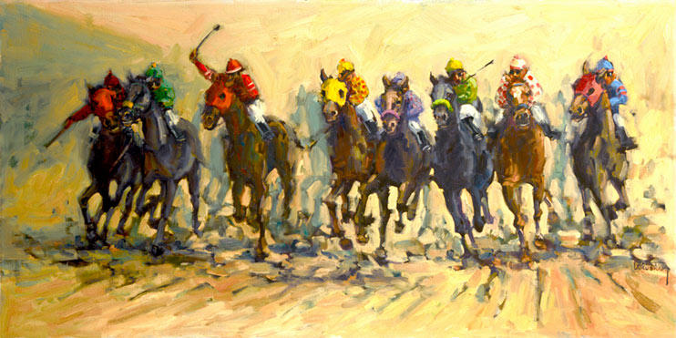 Into the Stretch depicts a hotly contested thorougbred horse race thundering into the stretch, dirt flying from eight horses hoofs as they run neck and neck toward the finish line. Brightly colored jerseys and helmets adorn the riders and they push their mounts to their utmost. This is an origlnal oil painting from artist Janet Kruskam