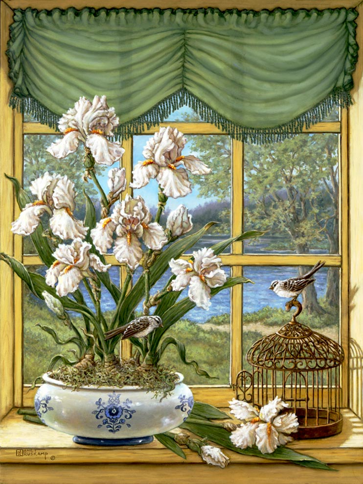 Janet Kruskamp's Paintings - Irises by the Lake, a painting of a wide white porcelain planter with blue decoration holding white iris plants sitting on a window sill overlooking a small lake outside. A small bird sits atop a small wire cage on the sill next to the planter and cut irises. One of the Gardens and Florals Gallery of Original Oil Paintings and  original paintings by Janet Kruskamp