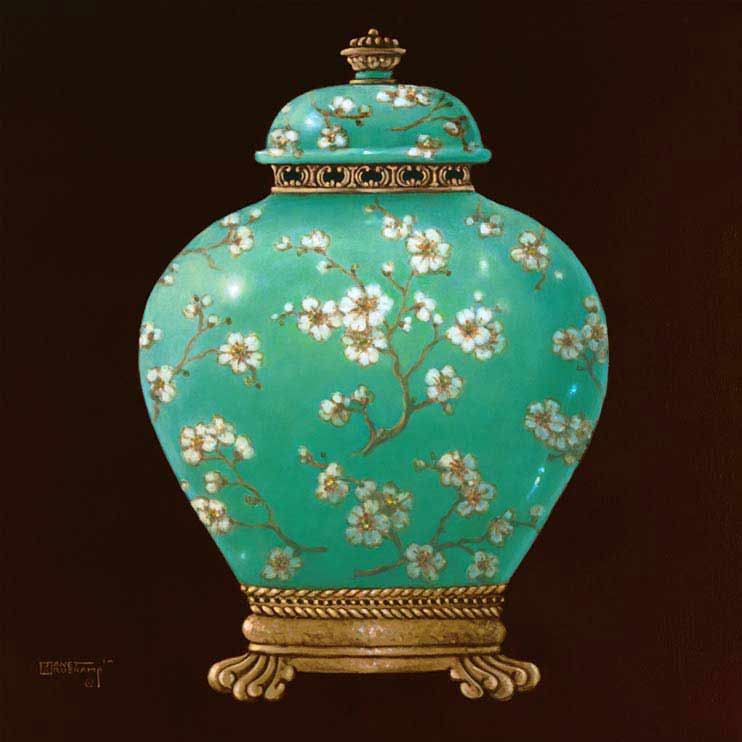 This lovely oriental jar fills this canvas. The brown border makes the gold and white in the jar really stand out. A detailed border is used but doesn't take any attention away from the details in the Jar. The small flowers and detailed base of the jar add to the beauty of this  canvas. by Janet Kruskamp.
