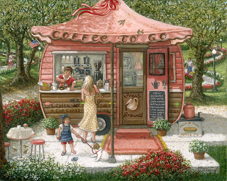 "A woman in a long summer dress stands before the window of a small travel trailer converted into a coffee stand, her dress and hair blowing in the breezy, sunny day. A woman in a red waitress uniform inside the trailer pours her coffee as her little girl with her dog on leash wait. The little brown trailer, and reddish awning that says ""Coffee to Go"" along the outside edge, sits on a concrete pad in a park. Winding, flower lined paths show a jogger behind the trailer. a small table and stools sit on the lower left corner of the concrete, holding a cup and cupcake. A chalkboard menu is on the opened inside of the trailer door advertising coffee drinks."