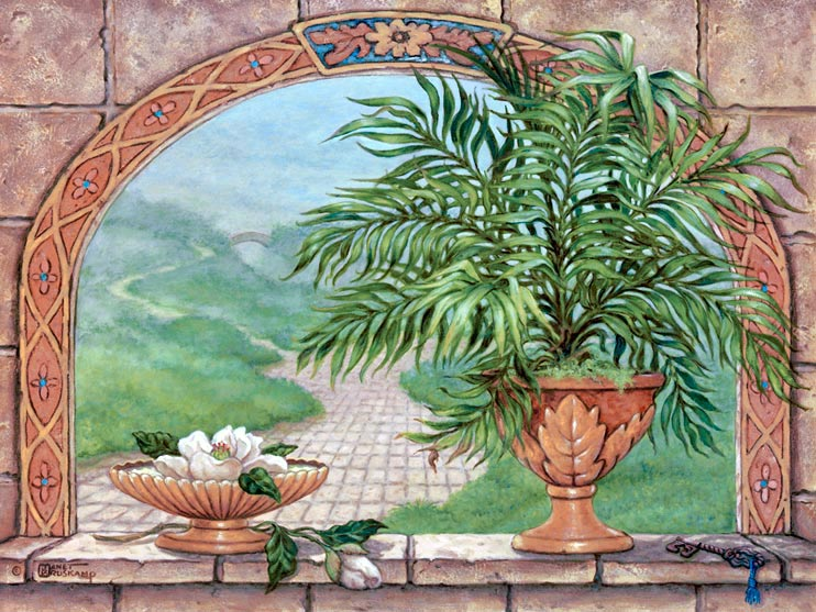 Key to Yesterday, a painting of potted palm in Neo Classical container and white blossoms grace the ledge of an archway that frames a misty scene with a stone pathway leading to an arched bridge in the distance, one of Janet Kruskamp's Original Oil Paintings, ,  by artist Janet Kruskamp