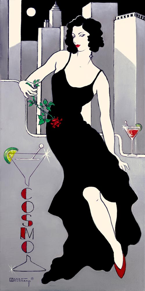 "La Dame en Noir, a giclee , personally enhanced and by the artist Janet Kruskamp showing an illustration of a chic woman dressed in a black evening gown against a stylized city skyline. The woman is holding a single red rose and sitting next to her is a cosmopolitan martini glass. A large martini glass sign on her left spells out ""Cosmo""."