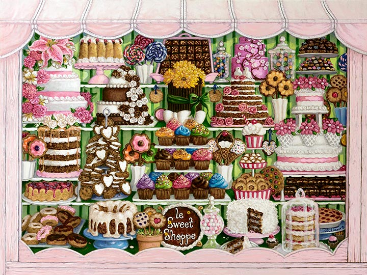 An amazing display of sweet treats overlowing the shop window. Cakes, cupcakes, donuts, pies, and candy of all types are packed into the busy shop window. Frosting and icing decoration top off delicious looking cakes and cookies. Glass jars contain lollipops, gumballs, and wrapped hard candy, while boxes hold chocolate candies. Floral decorations and flowers brighten up the show window.