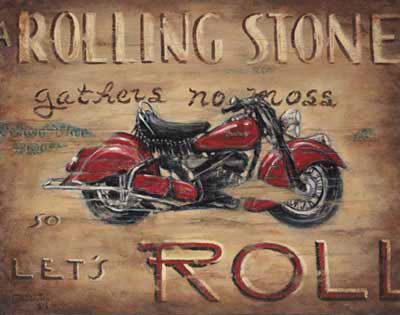 "Let's Roll, another new poster from artist Janet Kruskamp, features a fabulous classic red Indian motorcycle with the words ""A Rolling Stone gathers no moss. Let's ROLL"" around this classic motorcycle. The distressed look of the surface of the poster, worn, scratched and dirty, adds to the presentation of this vintage motorcycle from the 40's.  Indian is America's oldest motorcycle brand and was once the largest manufacturer of motorcycles in the world. Featured in this poster, the Chief model had its heyday from 1922 to 1953. Used in both World Wars, the Indian motorcycles had a well-deserved reputation for being built like a rock. Order your own original painting of this historic motorcycle."