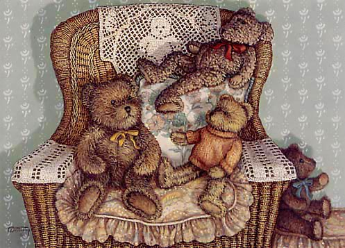 Lounging Around, a painting of three teddy bears on a wicker chair, one of the Janet Kruskamp Teddy Bear Gallery of original oils and  original paintings by Janet Kruskamp
