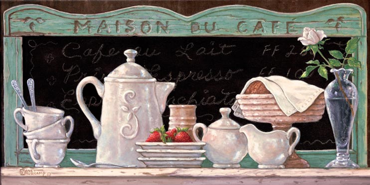 Mason Du Café, a newer original paintings,  always hand by Janet Kruskamp. This oil painting of an antique coffee set that was gently used for breakfast along with fresh strawberries and croissants. Only the delicate single rose knows how romantic this meal really was.