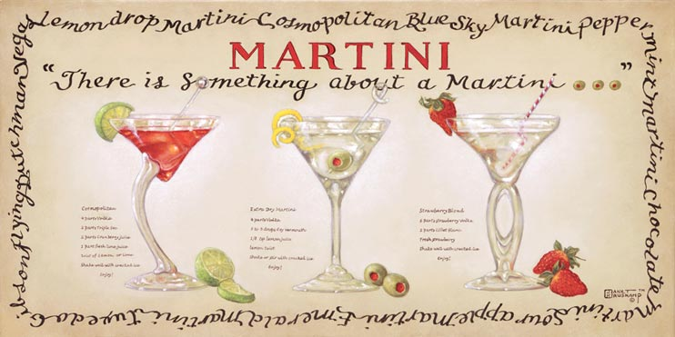 Martini Collection from Janet Kruskamp, an original painting by Janet Kruskamp, bordered by the names of different martinis and showing three unique martini glasses and the limes, olives and strawberries used in the drink's recipes.