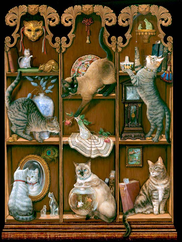 Midnight Mischief, a painting by Janet Kruskamp of six assorted cats in various stages of mischief involving a mirror, goldfish bowl, precarious flower vase and more, part of the Cat Paintings Gallery of original oil paintngs by Janet Kruskamp.