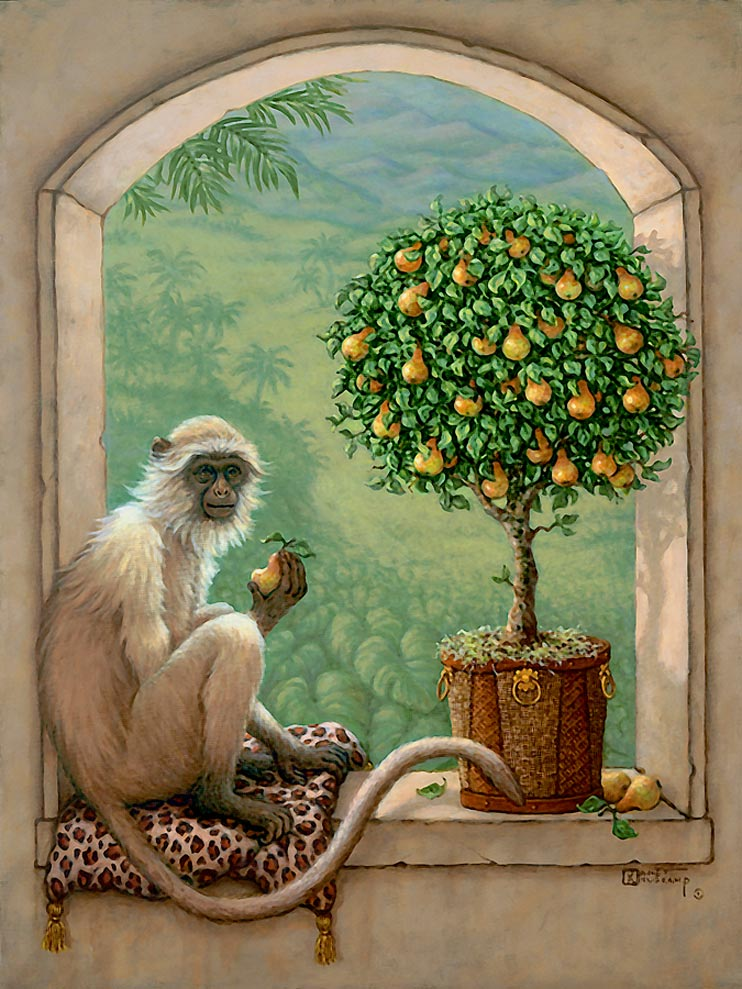 Monkey and Pear Tree, a painting of a monkey resting on a leopard skin pillow sampling a pear from a pear topiary tree, one of the Original Oil Paintings by artist Janet Kruskamp