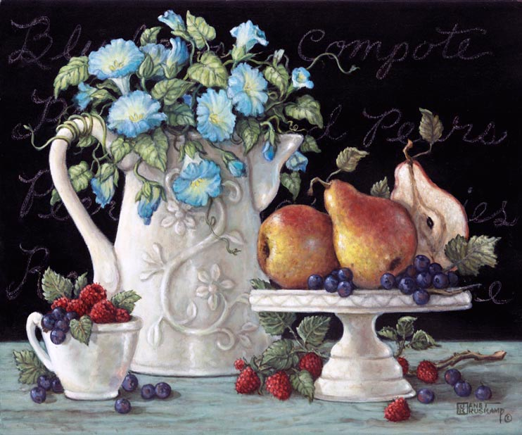 Morning Glories with Fruit - An antique coffee pitcher is used as the Morning Glories vase. A cake display and coffee cup are used in this oil painting to display fresh pears raspberries and grapes. Straw berries and grapes dance on the white linen, their bright color brings out the detail in the antique porcelain. The soft blue of the morning glories and the delicate vine wrapped around vase handle, it what makes this  canvas painting one of my personal favorites.