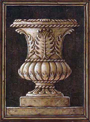 This is one of Janet Kruskamp's darker giclees . She used an assortment of grays, charcoals, and beige to enhance the stone feel of her painting. The Urn is simple yet full of detail. Notice the large leaves in the center and the twisted rope used all over the antique Urn. Full of enhanced details,  hand by Janet Kruskamp.