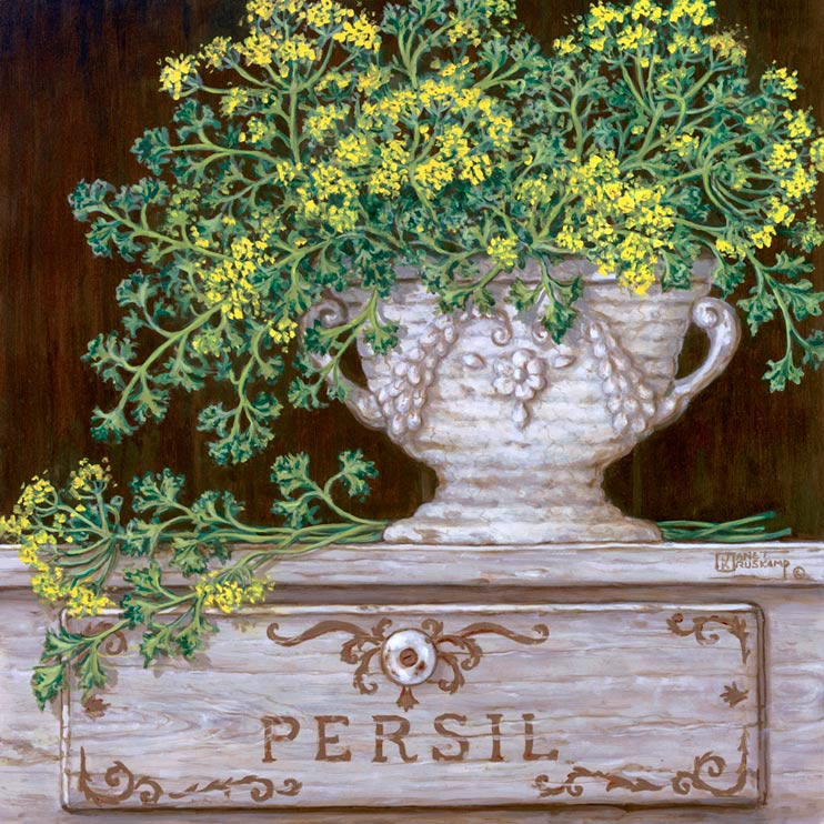 Paquet de Persil. Lovely soft yellow flower buds and pale green leaves are shown here stuffed in an antique vase. The porcelain vase sits proudly on the Persil display box. This oil painting is lighter in color but still has the power presence of any piece done by Janet Kruskamp. Like all of Janet's  original paintings, this too has been by the artist.