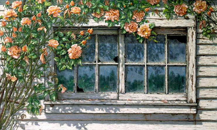 Peace (Climbing Roses) is a realistic painting of a weathered window with a couple of broken panes framed by a climbing rose in pink blooms. The white painted house and window sill is cracked and peeling and two small snails live under the sill. The bright sun leaves a distinct shadow of the climbing rose and the remaining glass reflects a tree filled environment. Another original oil painting by artist Janet Kruskamp