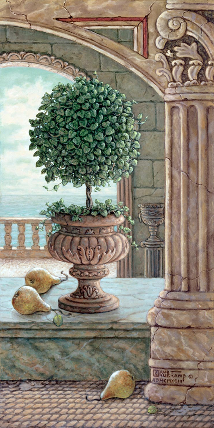 Pear and Topiary, a painting of pears fallen from a sculpted pear tree in marble arches and columns, one of Janet Kruskamp's original paintings by artist Janet Kruskamp