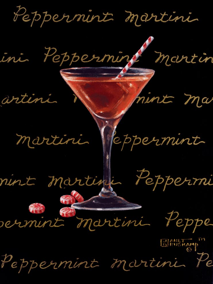 Peppermint Martini, a giclee for sale, personally enhanced and by the artist, Janet Kruskamp illustrating a classic martini glass with a red colored martini inside and peppermints scattered at the base. The black background has the name Peppermint Martini handwritten in multiple lines across the background.