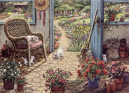 Potting Shed a painting of an outdoor shed with cobblestone floors is the perfect place to repot flowers and to raise a litter of kittens, by Janet Kruskamp. One of her Interior and Exterior Scenes Paintings Gallery of original oil paintngs by Janet Kruskamp.