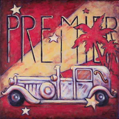 Janet Kruskamp's new series of vintage movie posters includes Premier, an original painting. Reminding us of the splendor that was Hollywood at it's peak, a vintage touring car, complete with an open driver's compartment sits ready to roll right to left. You would expect the driver to jump out any second to open the door for his movie star passenger. A swath of spot light cuts diagonally through the background from the lower left to the upper right. The elongated word PREMIER sits in thin black letters above the spotlight and red background, but the text is masked off over portions of the last four letters by a graphic representation of red palm trees.