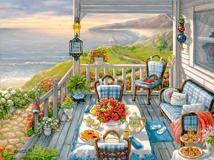 Sea Side Inn, another giclee from Janet Kruskamp. This painting shows the wooden porch of the Sea Side Inn, all set for for an early morning breakfast. A bright red vase of flowers sits in the middle of the crisp white with country blue flowered border tablecloth, with an ornamented coffee pot on one side, and the matching cream and sugar service on the other. Goodies are set on the main and side table, waiting for the hungry guests to arrive. A wonderful sunrise brings out the smooth curve of the bay, spotlighting a gazebo on a small rise along the shoreline. Steps lined with flower pots on either side lead down to a cobblestone path heading for the gazebo. Another fine art giclee, personally enhanced and then hand by the artist, Janet Kruskamp.