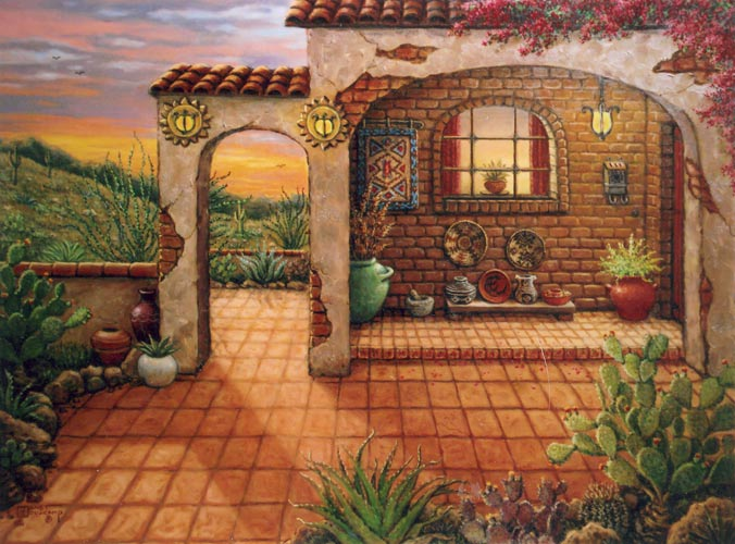 Southwest Sunset, another Americana painting by Janet Kruskamp depicting a southwestern United States sunset. Another fine art creation depicting a front porch and patio of a southwestern adobe home. A collection of woven Indian baskets ,a mortar and pestel and native plants in glazed pots adorn the front porch.Mexican tiles are laid in the courtyard  A cactus and succulent garden grows in the foreground.A lovely sunset of pinks,blues and oranges glows softly in the Arizona sky.
